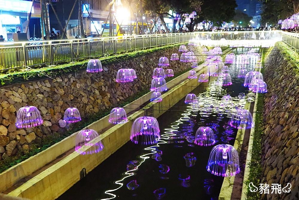 【台中中區景點】新盛綠川水岸廊道~舊城區再造,號稱台中小京都,漂浮在夜空裡的水母燈美的冒泡!距離火車站僅三分鐘