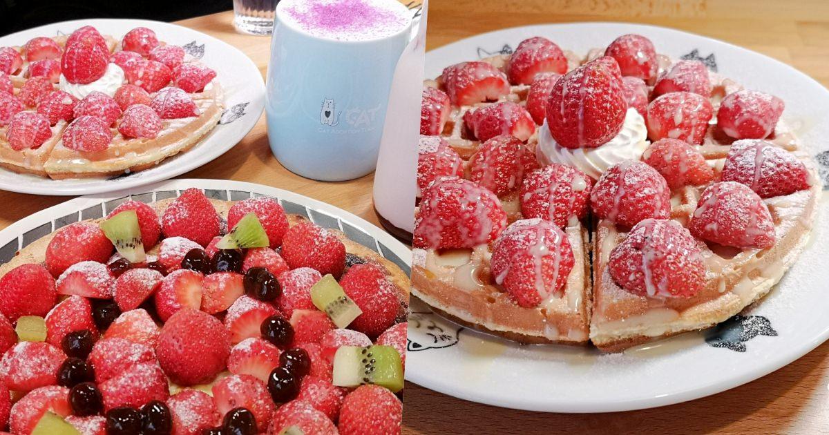 【宜蘭】熊與喵咖啡~浮誇係草莓下午茶上市!草莓麻糬披薩、草莓鬆餅讓你超滿足!也是超熱門親子餐廳。